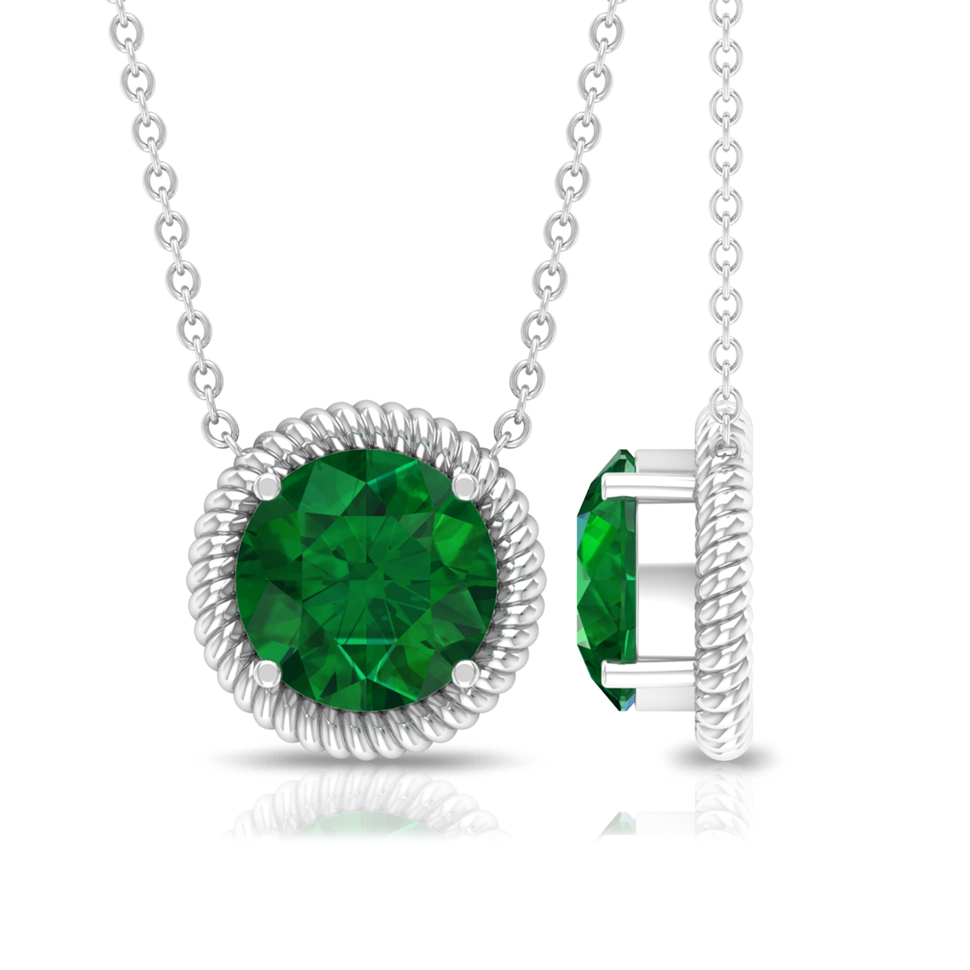 8 MM Round Cut Emerald Solitaire Necklace in 4 Prong Setting with Rope Frame