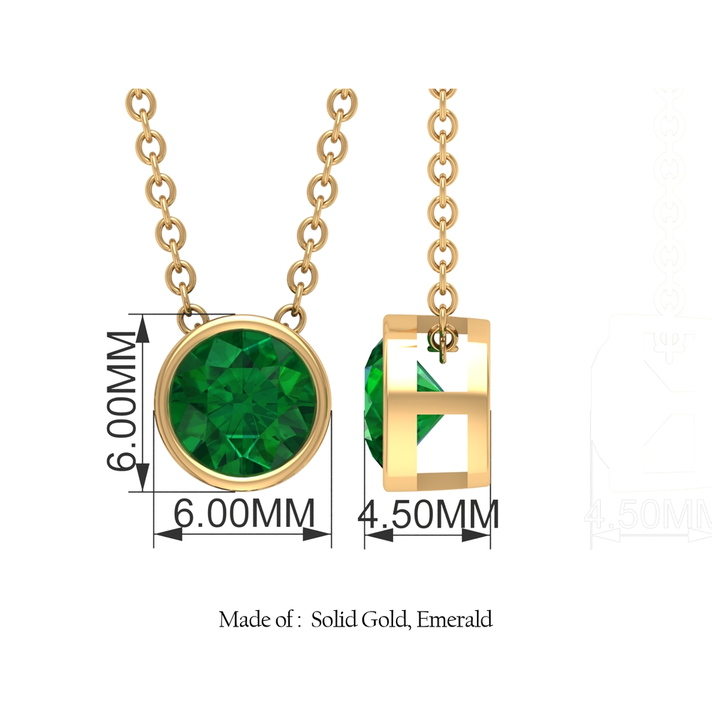May Birthstone 5 MM Bezel Set Emerald Solitaire Cocktail Pendant Necklace for Women