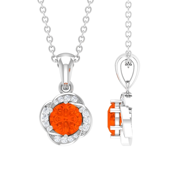1/4 CT Fire Opal and Diamond Solitaire Flower Pendant Necklace