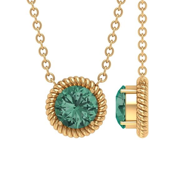 5X5 MM Round Shape Green Sapphire Solitaire Pendant in 4 Prong Setting with Minimal Twisted Rope Frame