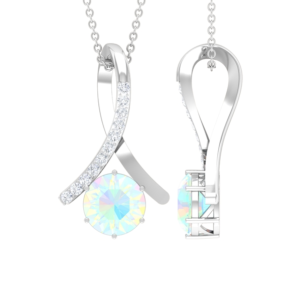 1 CT Ethiopian Opal and Moissanite Accent Pendant in 6 Prong Setting