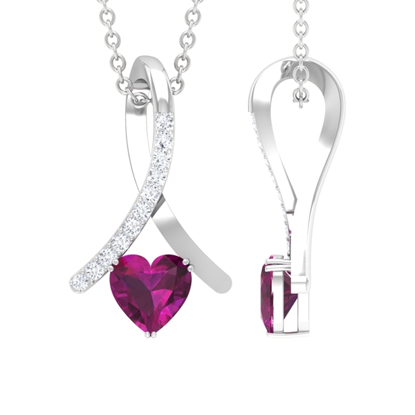 1/2 CT Heart Shape Rhodolite and Diamond Accent Pendant Necklace for Women