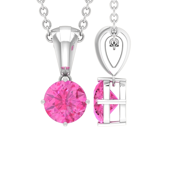September Birthstone 5 MM Pink Sapphire Solitaire Pendant Necklace for Women