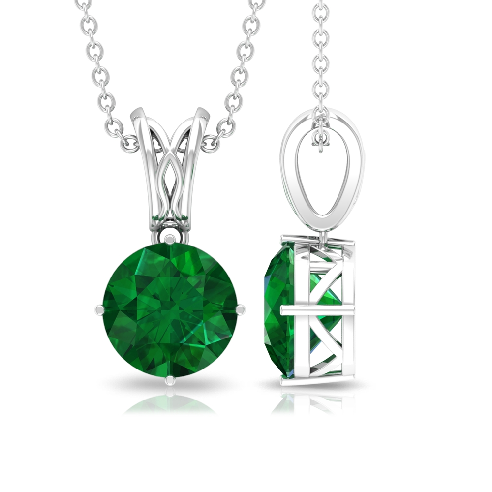 8 MM Round Cut Emerald Solitaire Necklace in 4 Prong Diagonal Setting with Decorative Bail