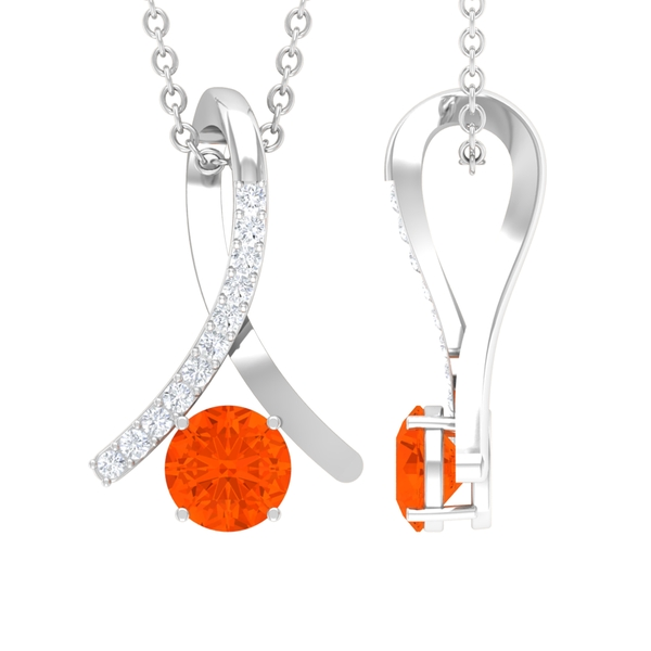 1/4 CT Fire Opal and Diamond Accent Pendant in 4 Prong Setting