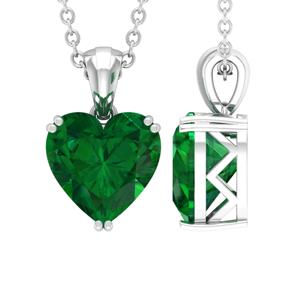 8 MM Heart Cut Emerald Solitaire Pendant in Double Prong Setting