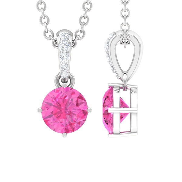 5 MM Round Shape Pink Sapphire Solitaire Pendant with Diamond