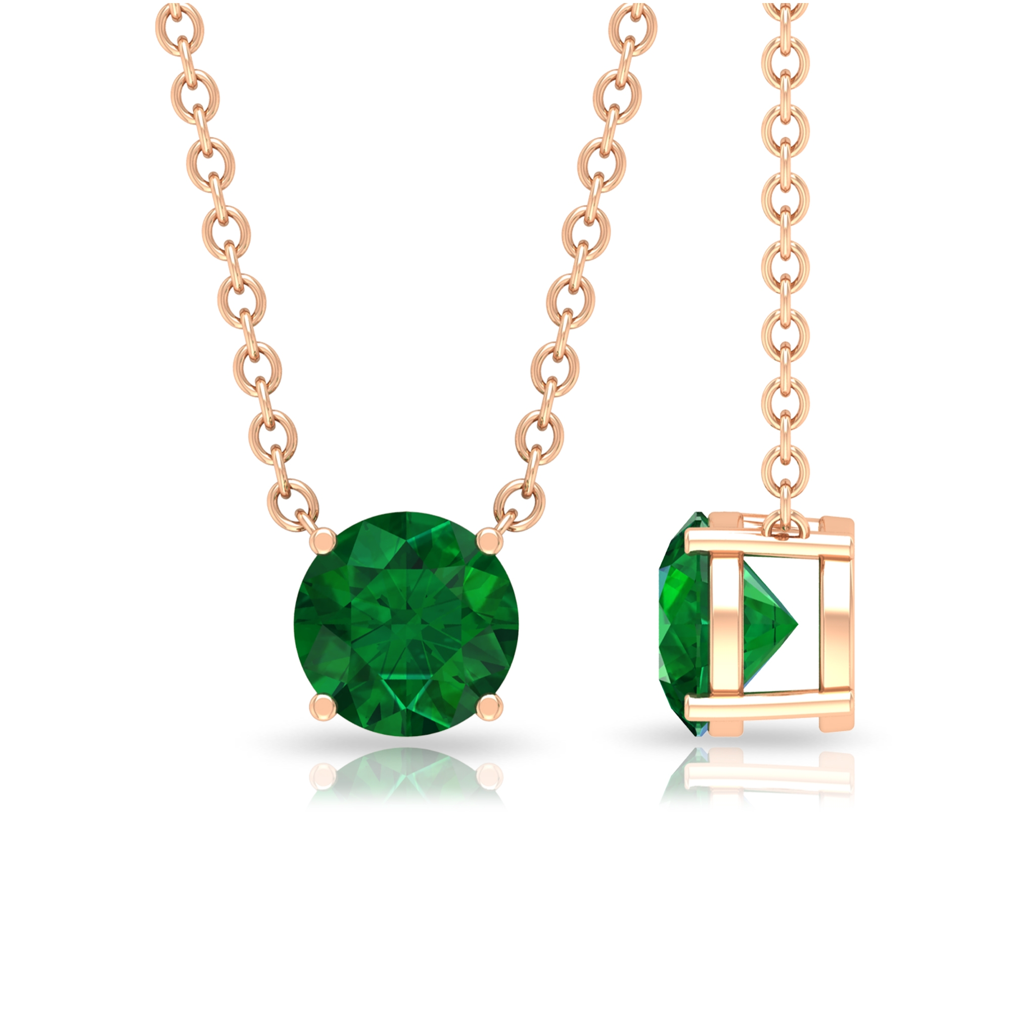 5 MM Round Cut Emerald Solitaire Minimal Necklace in 4 Prong Setting