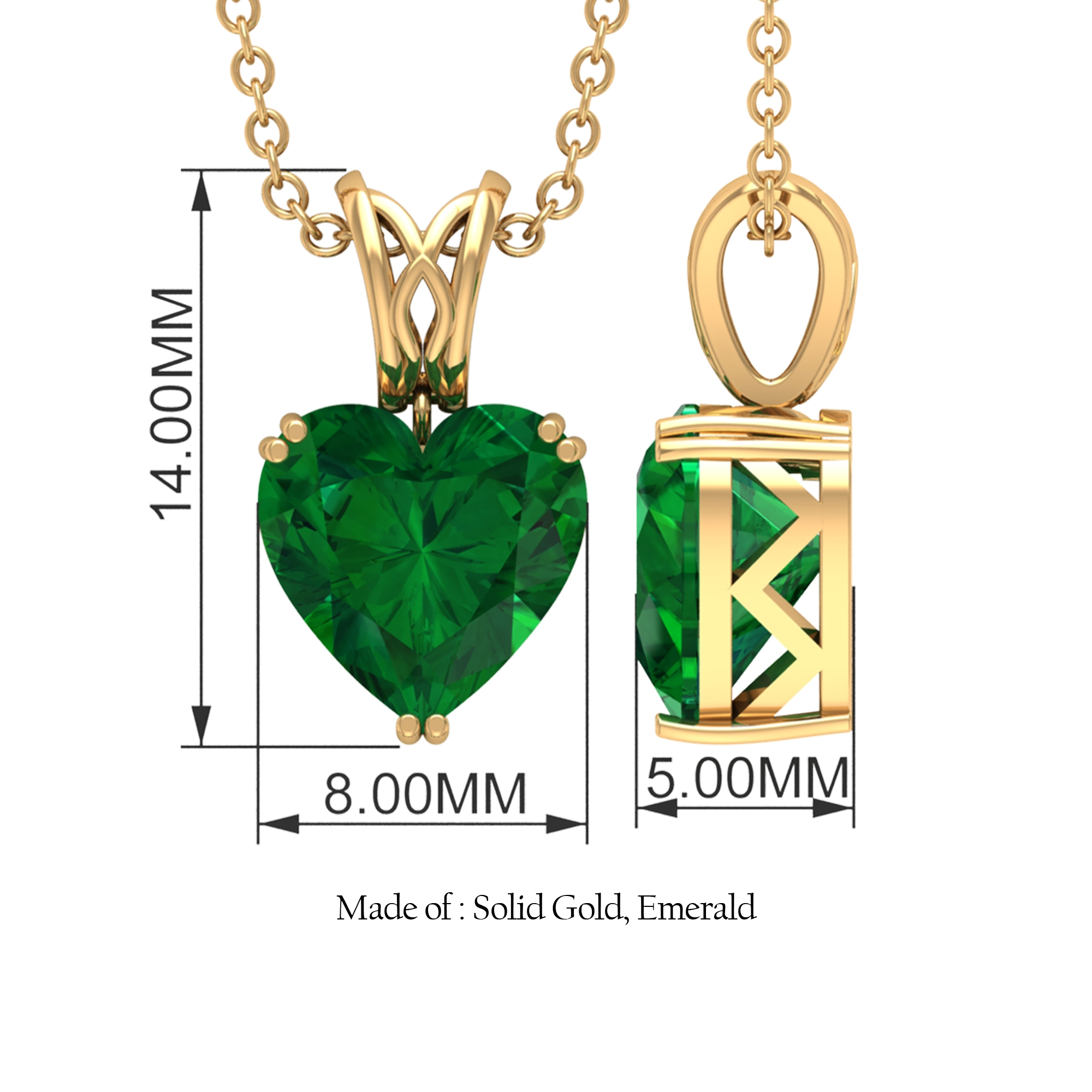 8 MM Heart Cut Emerald Solitaire Pendant in Double Prong Setting with Decorative Bail
