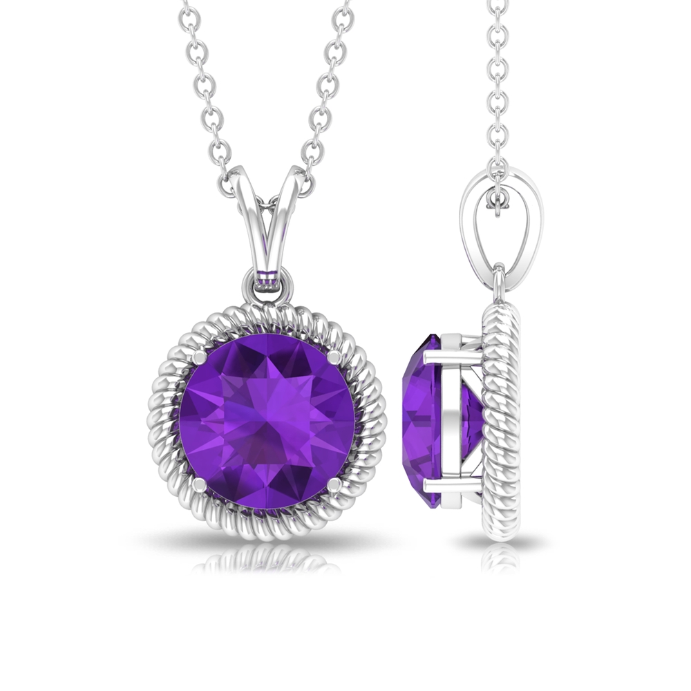 8X8 MM Round Shape Amethyst Solitaire Gold Pendant Necklace