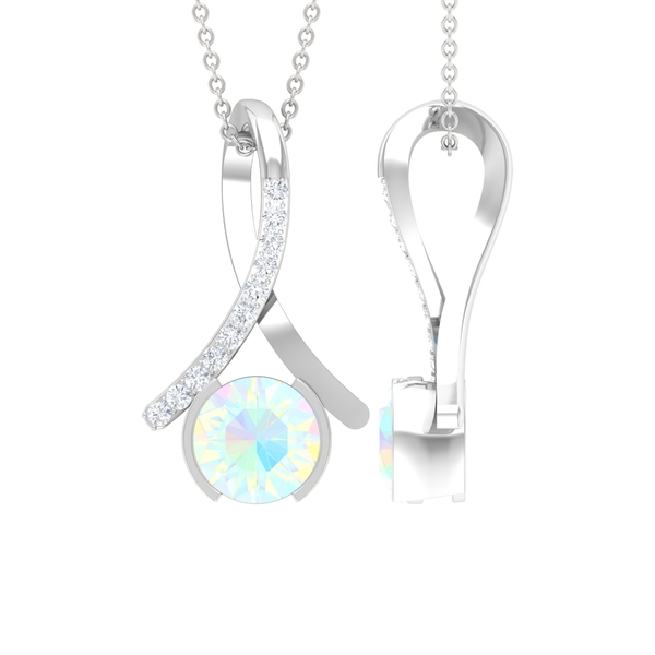 1 CT Ethiopian Opal and Moissanite Accent Pendant in Half Bezel Setting