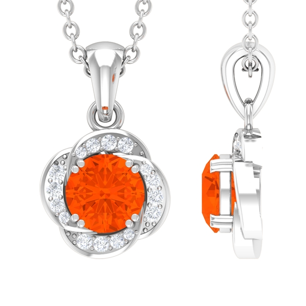 1/4 CT Fire Opal and Diamond Floral Halo Pendant with Double Prong Setting