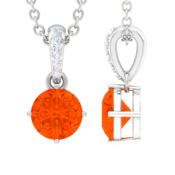 1/4 CT Prong Set Fire Opal Solitaire Pendant For Women with Diamond