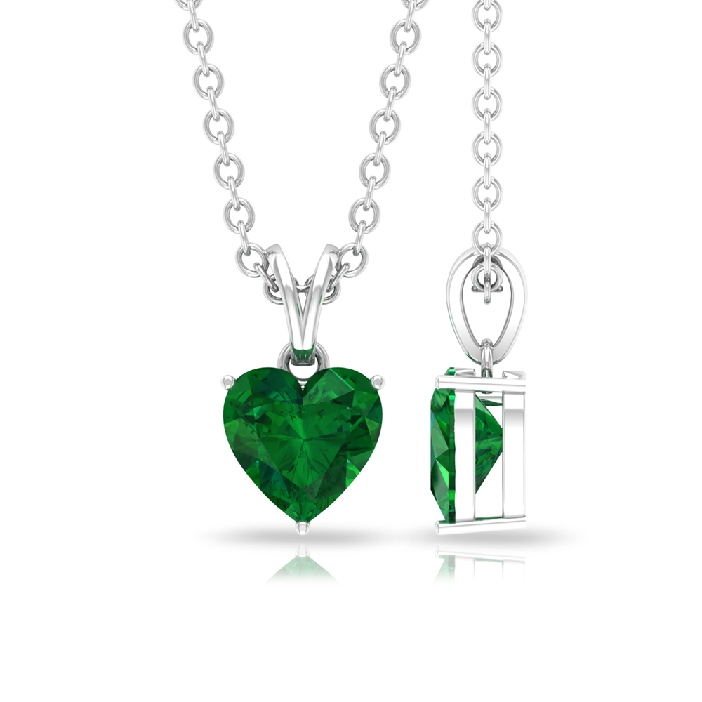 5 MM Heart Cut Emerald Solitaire Pendant in 3 Prong Setting with Rabbit Ear Bail