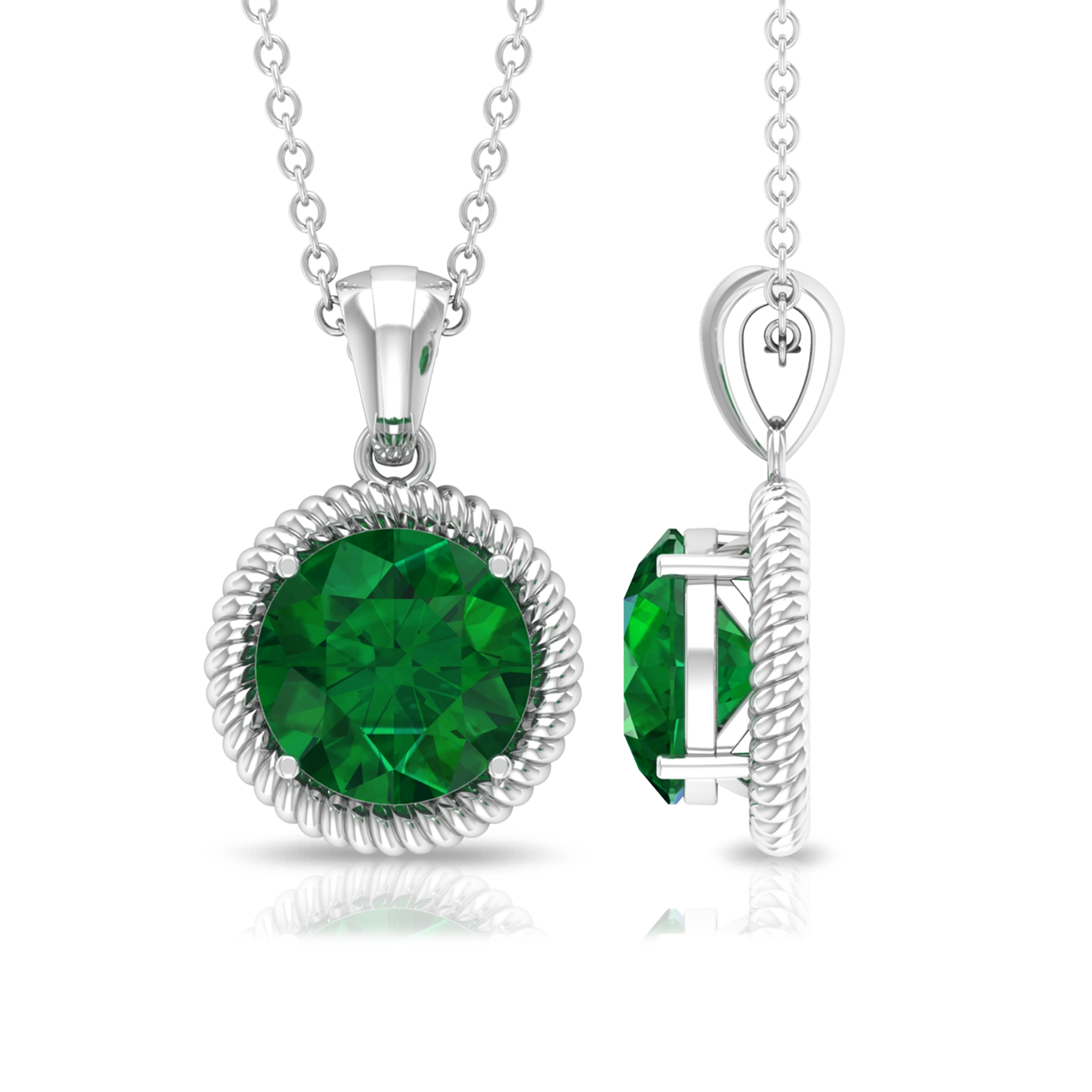 8 MM Round Cut Emerald Solitaire Pendant in 4 Prong Setting with Rope Frame