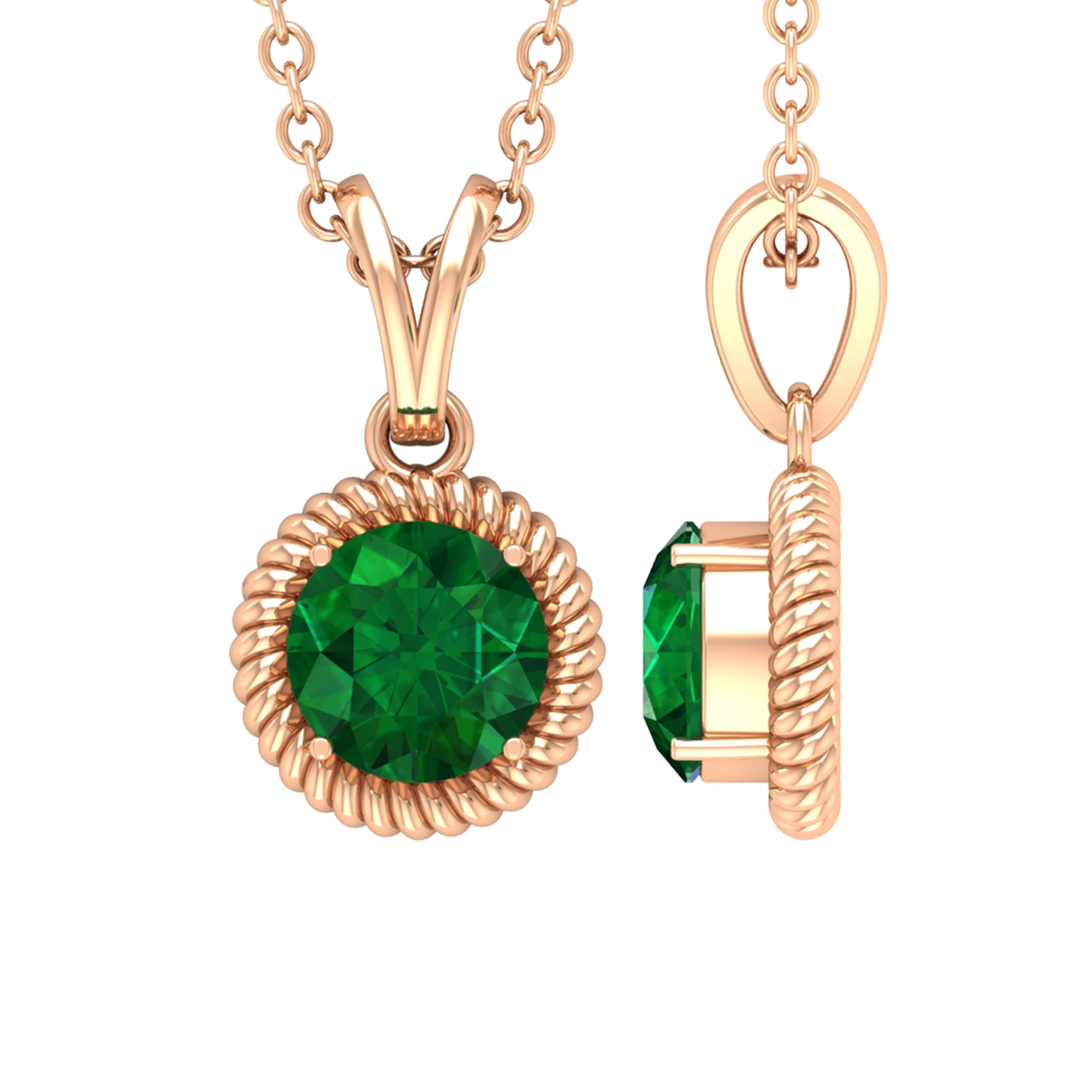 5 MM Round Cut Emerald Solitaire Pendant in 4 Prong Setting with Rabbit Ear Bail