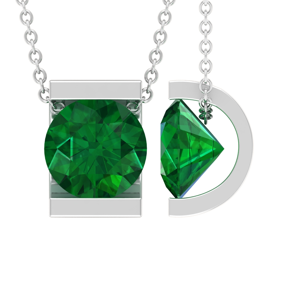 8 MM Round Cut Emerald Solitaire Pendant in Bar Setting