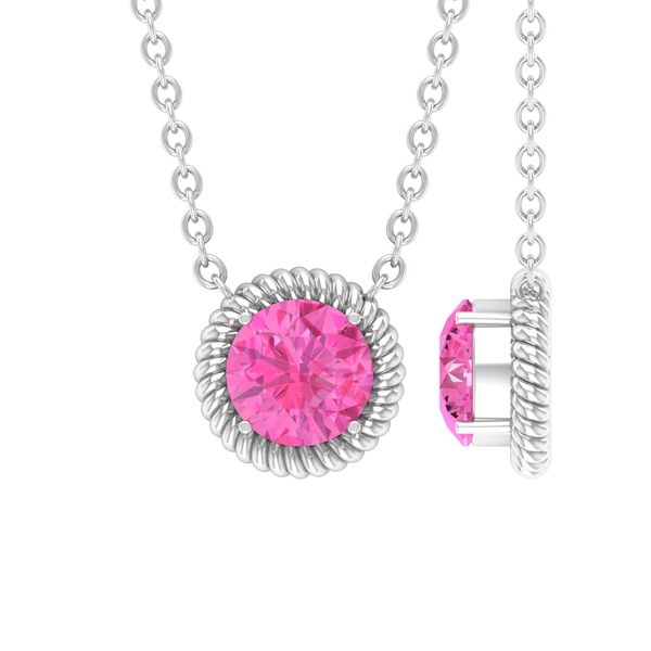 5 MM 4 Prong Set Round Shape Pink Sapphire Solitaire Necklace with Rope Frame