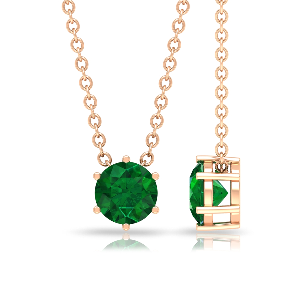 5 MM Round Cut Emerald Solitaire Pendant in 6 Prong Setting