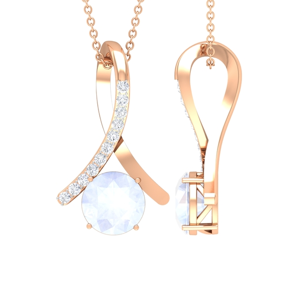 1 CT Moonstone and Moissanite Accent Pendant in 4 Prong Setting