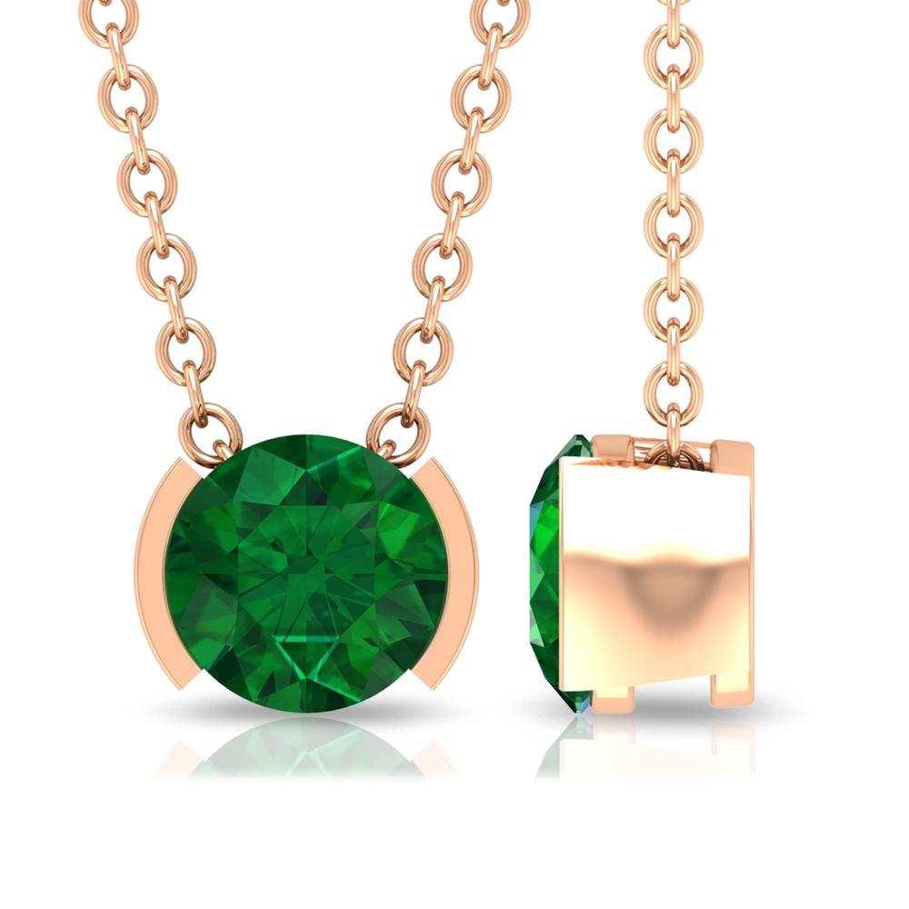 5 MM Round Cut Emerald Solitaire Necklace in Half Bezel Setting