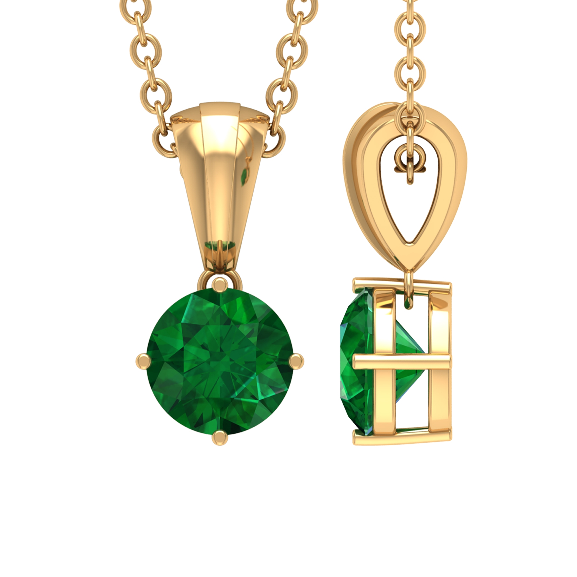 5 MM Round Cut Emerald Solitaire Pendant in 4 Prong Diagonal Setting