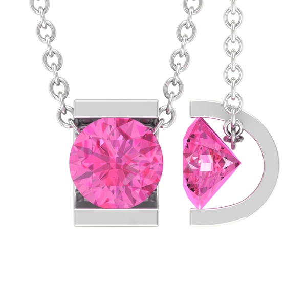 September Birthstone 5 MM Bar Set Pink Sapphire Solitaire Pendant Necklace for Women