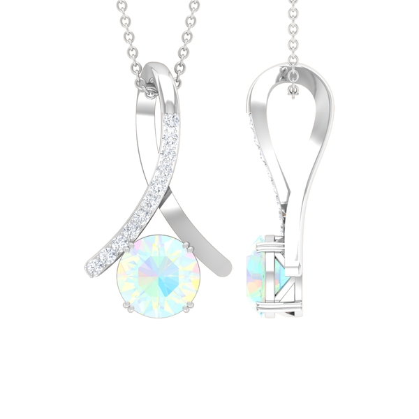 1 CT Ethiopian Opal and Moissanite Accent Pendant in Double Prong Setting