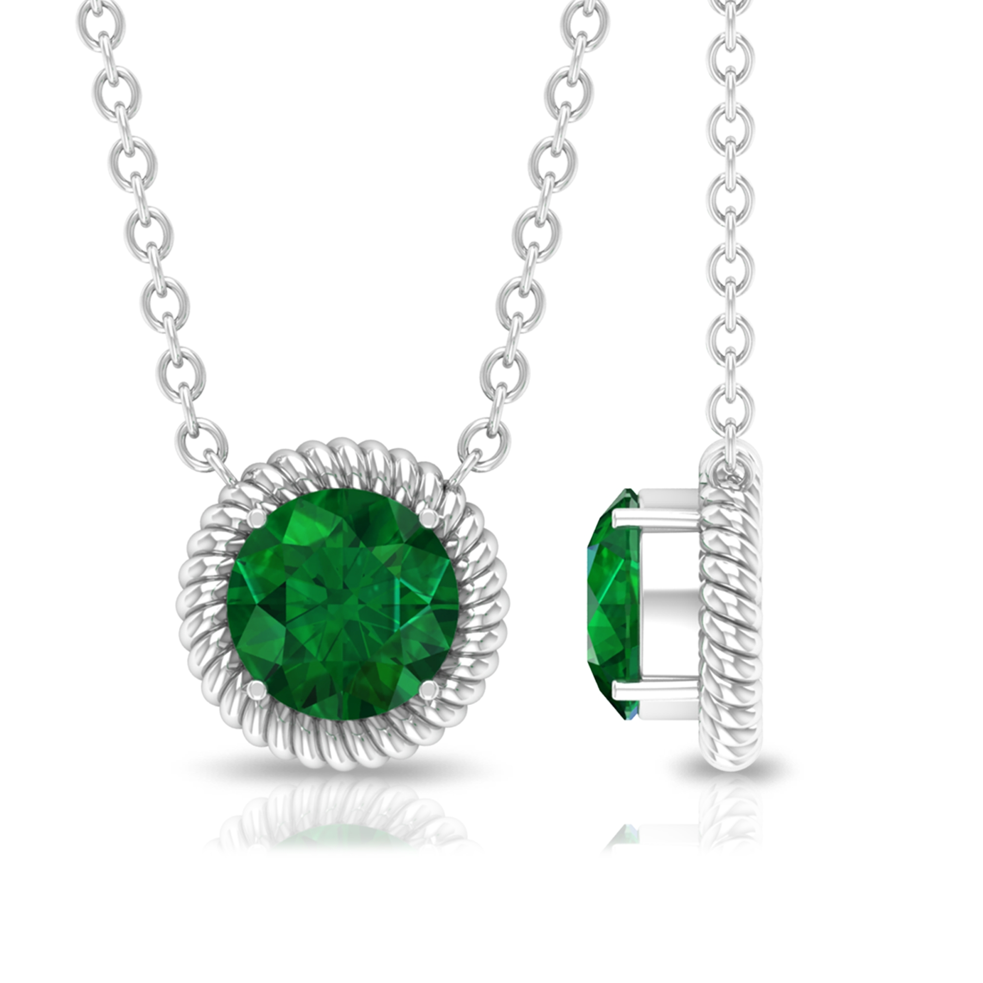 5 MM Round Cut Emerald Solitaire Minimal Necklace in 4 Prong Setting with Rope Frame