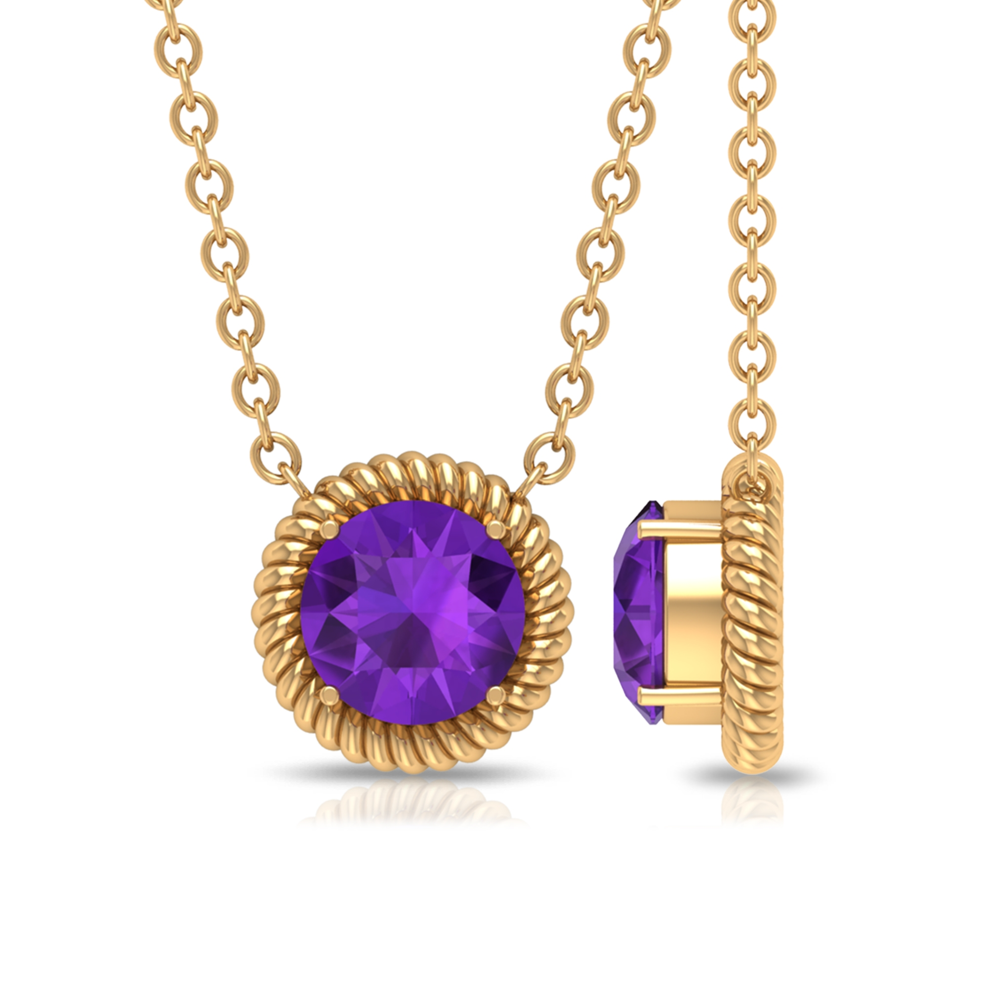 5X5 MM Round Shape Amethyst Gold Solitaire Pendant Necklace