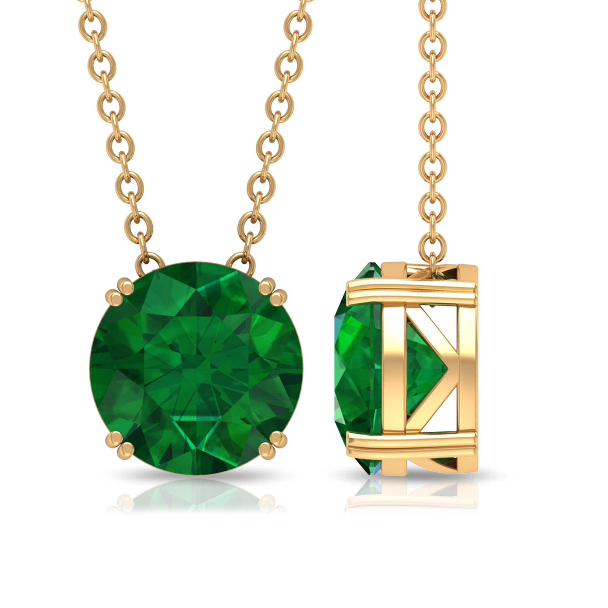 8 MM Round Cut Emerald Solitaire Necklace with Chain in Double Prong Setting