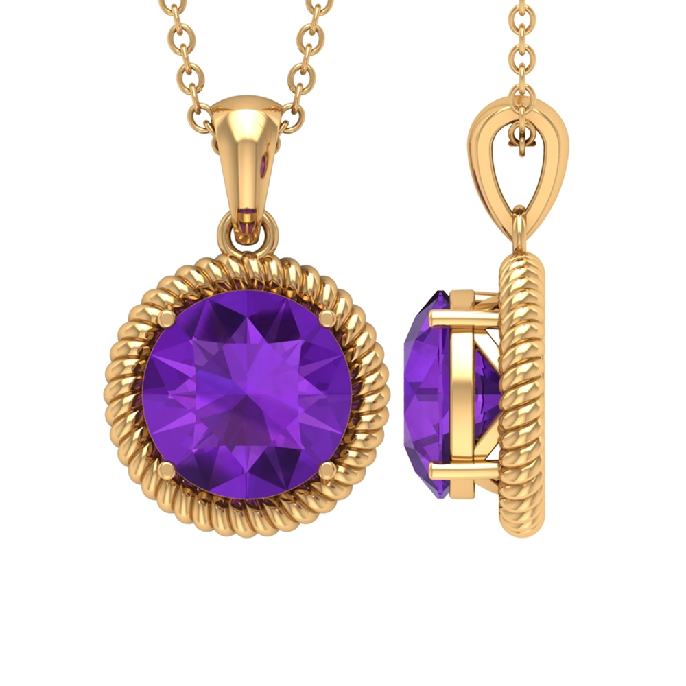8X8 MM Round Shape Amethyst Gold Solitaire Pendant Necklace