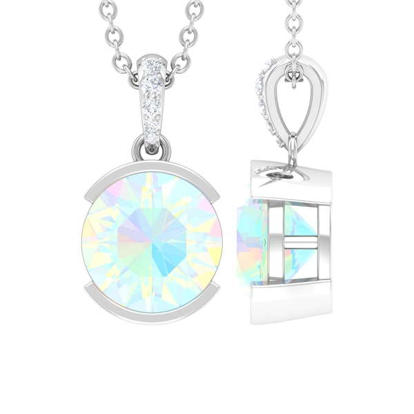 1 CT Ethiopian Opal Solitaire and Moissanite Pendant in Half Bezel Setting