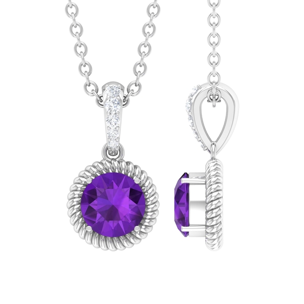 1/2 CT Round Shape Amethyst and Diamond Gold Solitaire Pendant Necklace