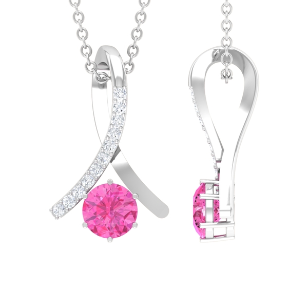 5 MM 6 Prong Set Pink Sapphire Knot Pendant Necklace with Diamond Accents