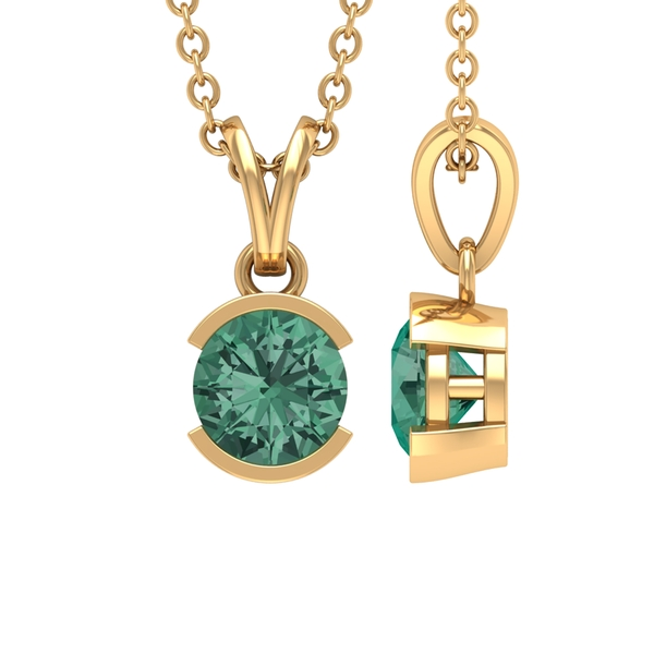 5 MM Round Shape Green Sapphire Solitaire Pendant in Half Bezel Setting with Rabbit Ear Bail