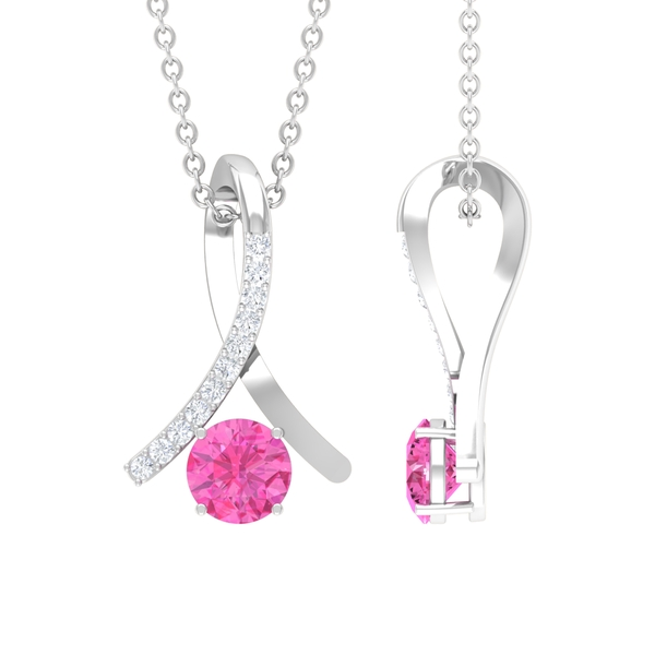 5 MM 4 Prong Set Pink Sapphire Knot Pendant Necklace with Diamond Accents