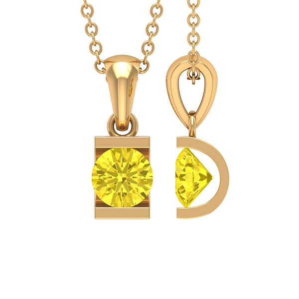 5X5 MM Round Shape Yellow Sapphire Solitaire Pendant in Bar Setting