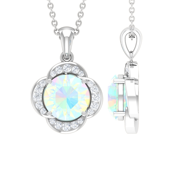 1 CT Round Shape Ethiopian Opal and Moissanite Solitaire Flower Pendant in 4 Prong Setting