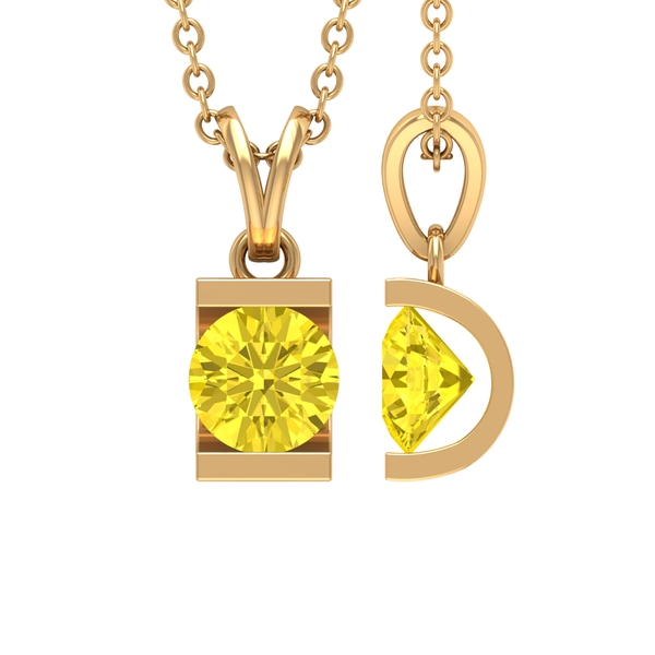 5X5 MM Round Shape Yellow Sapphire Solitaire Pendant in Bar Setting with Rabbit Ear Bail