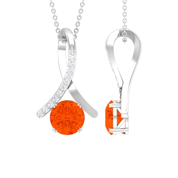 1 CT Fire Opal and Moissanite Accent Pendant in Double Prong Setting