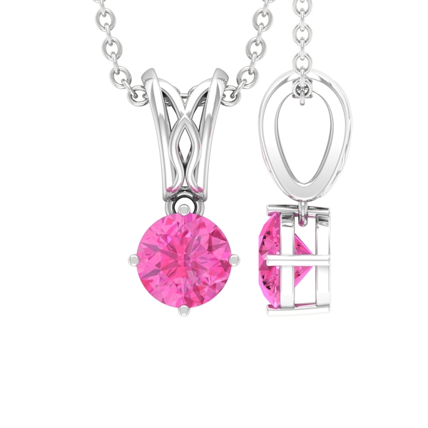 September Birthstone 5 MM Pink Sapphire Solitaire Decorative Bail Drop Pendant Necklace for Women