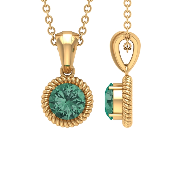 5X5 MM Round Shape Green Sapphire Solitaire Pendant in 4 Prong Setting with Twisted Rope Frame and Rondelle Bail