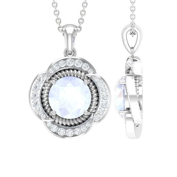 1.25 CT Round Shape Moonstone Solitaire and Moissanite Flower Pendant Necklace