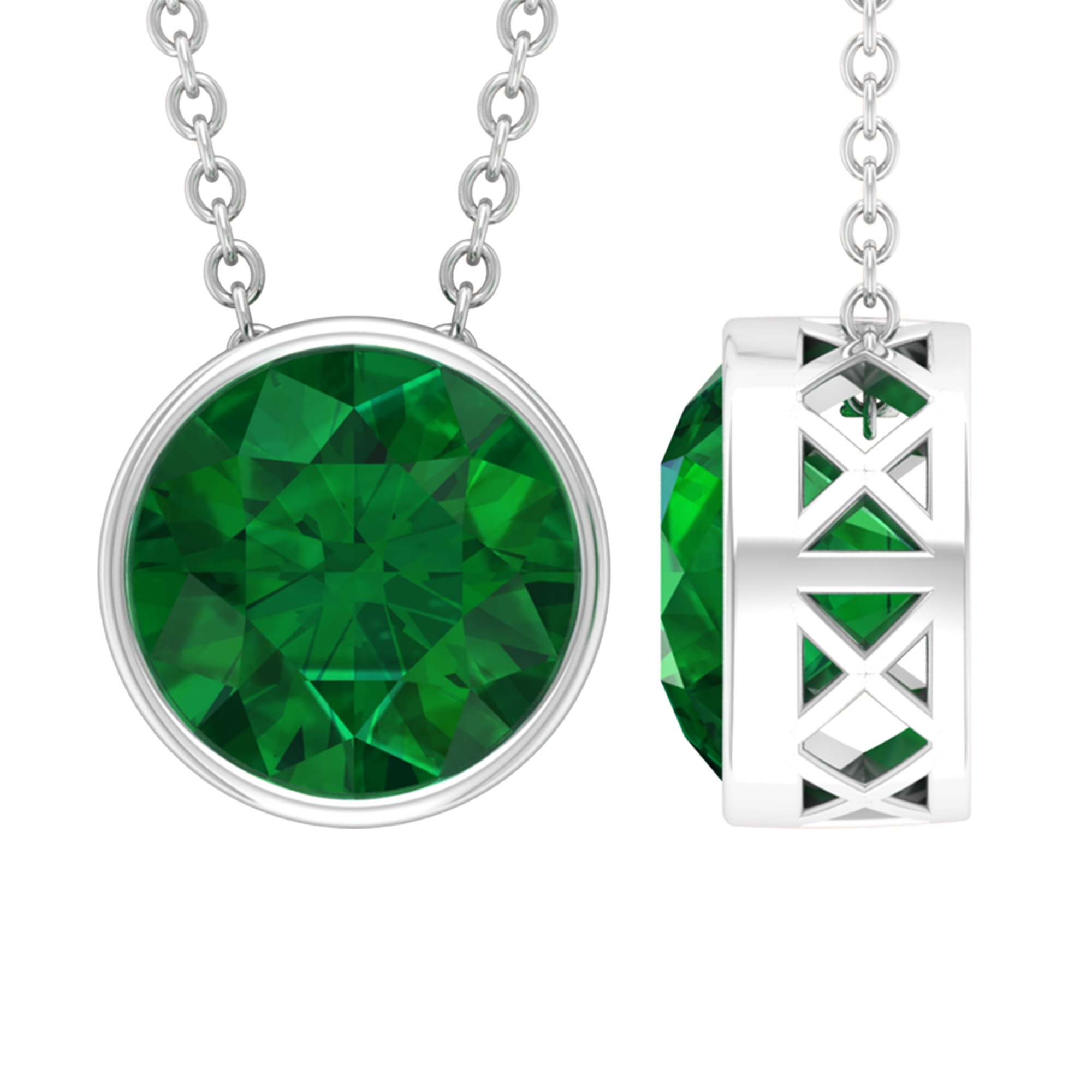 8 MM Round Cut Emerald Solitaire Necklace in Bezel Setting