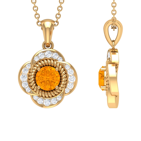 5 MM 4 Prong Set Round Orange Sapphire and Diamond Halo Floral Pendant with Rope Frame