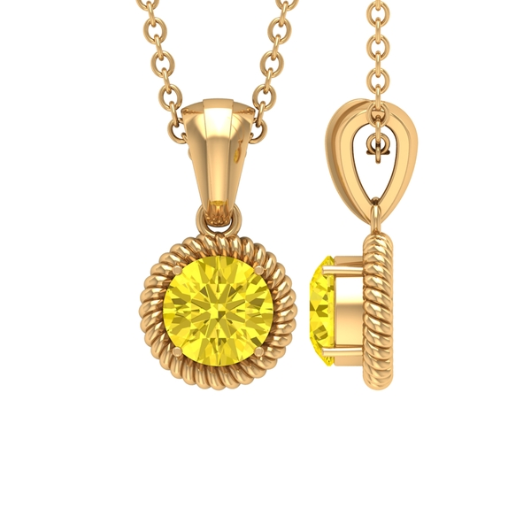 5X5 MM Round Shape Yellow Sapphire and Gold Twisted Rope Pendant for Women