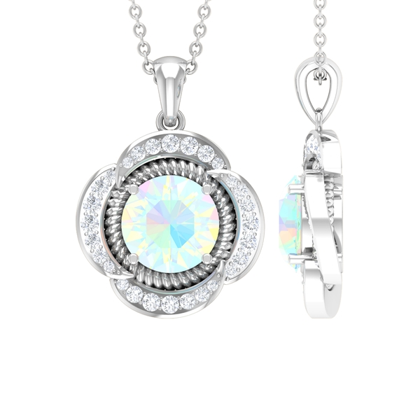 1.25 CT Round Shape Ethiopian Opal Solitaire and Moissanite Flower Pendant Necklace
