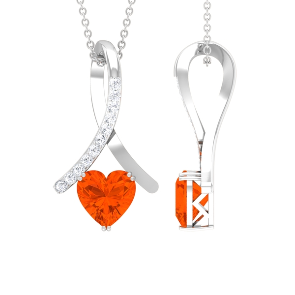 1.25 CT Heart Shape Fire Opal and Moissanite Accent Pendant in Double Prong Setting