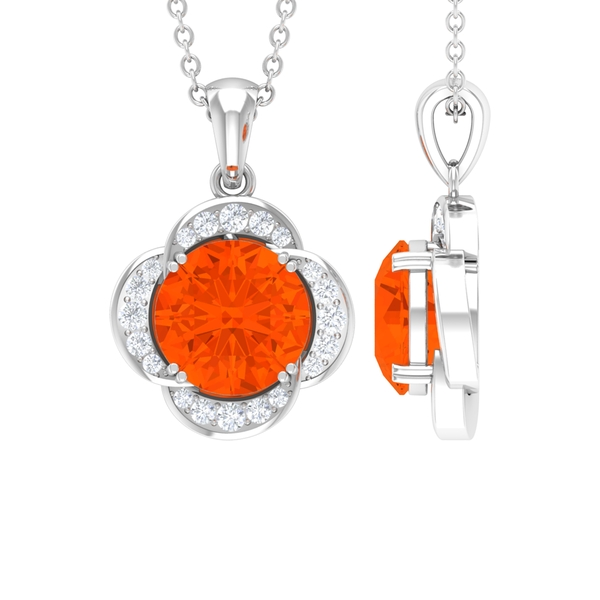 1 CT Fire Opal and Moissanite Flower Necklace in Double Prong Setting